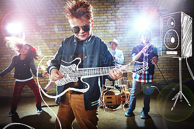Buy stock photo Shot of children playing rock music on imaginary instruments