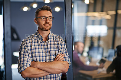 Buy stock photo Shot of an office worker looking thoughtful