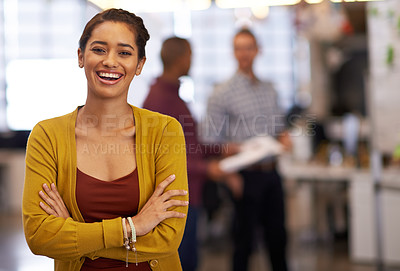 Buy stock photo Cropped portrait of a cheerful young businesswoman standing in an office