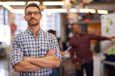 Buy stock photo Cropped portrait of a businessman standing in a modern office