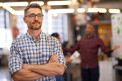 Buy stock photo Cropped shot of an office worker looking thoughtful