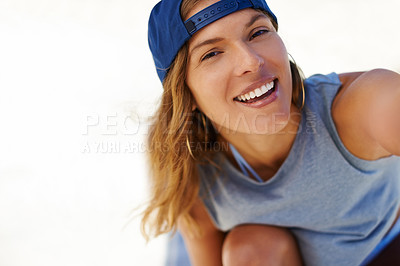 Buy stock photo Shot of a young skater taking at selfie