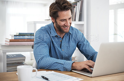 Buy stock photo Cropped shot of a man working at home