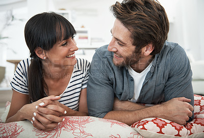 Buy stock photo Shot of a happy couple at home