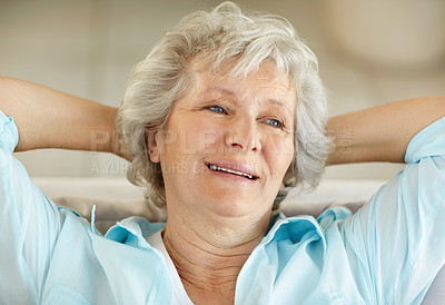 Buy stock photo Closeup of a thoughtful senior woman with looking away with her hands behind her head