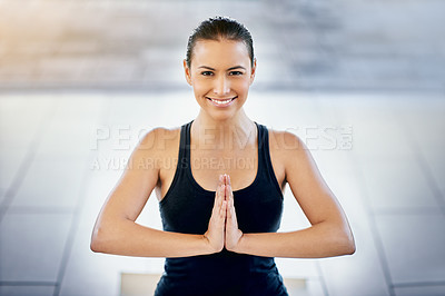 Buy stock photo Cropped portrait of a young woman meditating