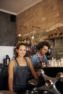 Buy stock photo Portrait of young baristas working in a coffee shop