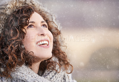 Buy stock photo Closeup of a young woman out on a cold winter's day