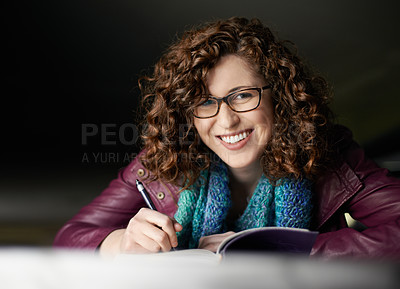 Buy stock photo Portrait of a woman writing in her journal