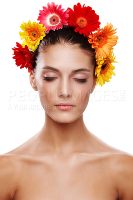 Buy stock photo Cropped shot of a beautiful young woman wearing a crown of flowers with her eyes closed