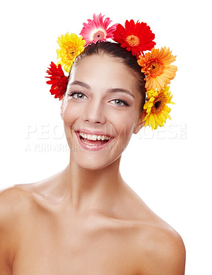 Buy stock photo Cropped portrait of a beautiful young woman wearing a crown of flowers