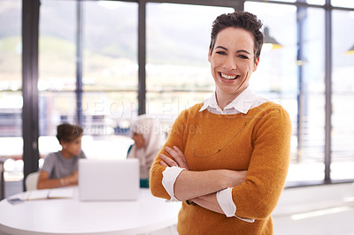 Buy stock photo Portrait of a confident woman working in a modern office