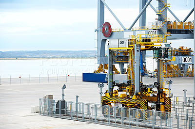 Buy stock photo Shot of a large commercial dock