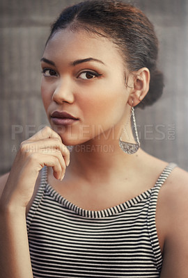 Buy stock photo Cropped portrait of a beautiful young woman