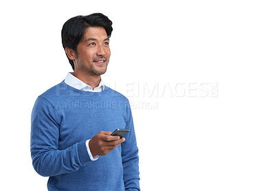 Buy stock photo Studio shot of a businessman using a mobile phone against a white background