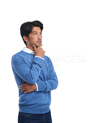 Buy stock photo Studio shot of a businessman posing against a white background