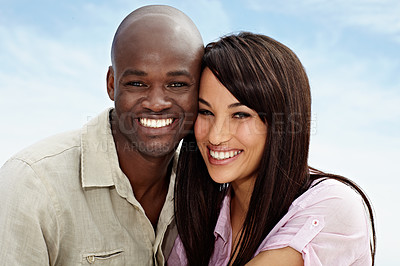 Buy stock photo Cropped portrait of an affectionate couple enjoying a day outside together