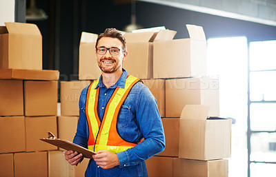 Buy stock photo Cropped portrait of a man working in a warehouse