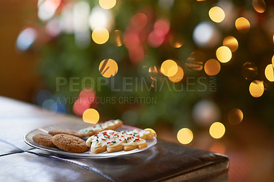 Buy stock photo Closeup shot of a plate of christmas cookies