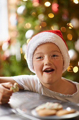 Buy stock photo Shot of a little boy eating Christmas cookies at home