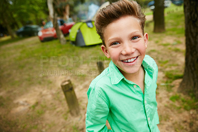 Buy stock photo Portrait of a young boy on a camping trip