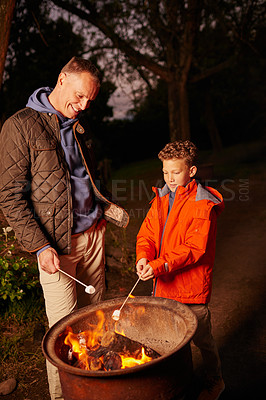 Buy stock photo Shot of a father and son toasting marshmallows over a fire