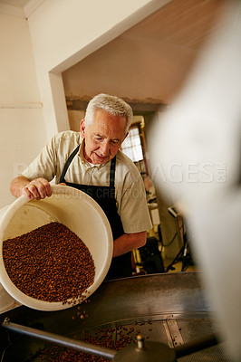 Buy stock photo Cropped shot of a senior man working in a roastery