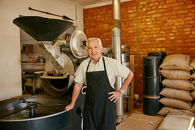 Buy stock photo Cropped portrait of a senior man working in a roastery