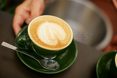 Buy stock photo Shot of creamy cappuccino in a coffee shop