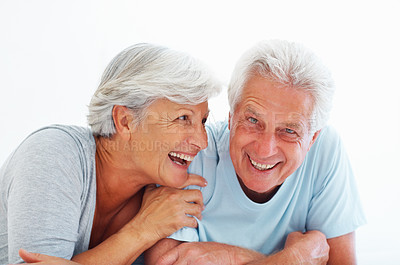 Buy stock photo Closeup portrait of cheerful senior couple smiling