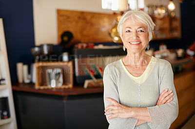 Buy stock photo Portrait of a senior woman working in a coffee shop