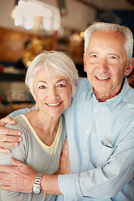 Buy stock photo Portrait of a happy senior couple indoors