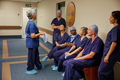 Buy stock photo Full length shot of a medical team in the hospital