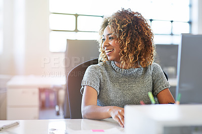 Buy stock photo Shot of a beautiful young businesswoman in her office