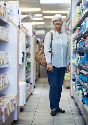 Buy stock photo Portrait of a senior woman in a pharmacy