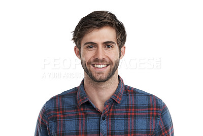 Buy stock photo Studio portrait of a smiling young man isolated on white