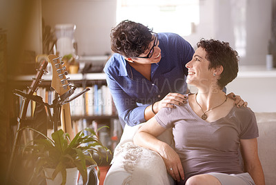 Buy stock photo Shot of an affectionate couple  at home