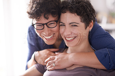 Buy stock photo Portrait of a happy couple  at home