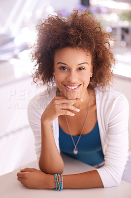 Buy stock photo Shot of a young woman at home