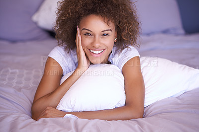 Buy stock photo Portrait of a young woman waking up in the morning