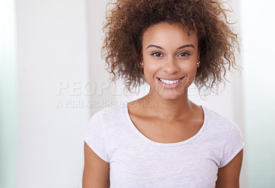 Buy stock photo Portrait of an attractive young woman at home