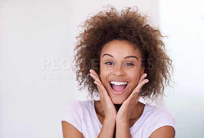 Buy stock photo Portrait of a young woman looking excited