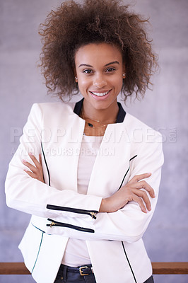 Buy stock photo Portrait of a successful young businesswoman in an office