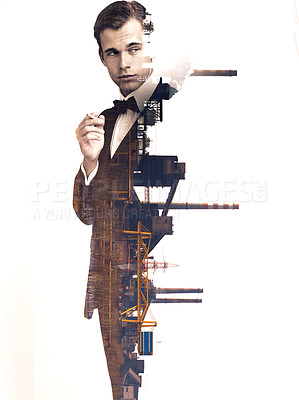 Buy stock photo Mulitple exposure shot of a refinery superimposed on a man in a tuxedo
