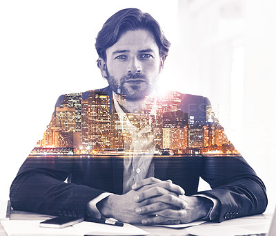 Buy stock photo Portrait of a a businessman superimposed on a city skyline at night