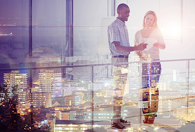 Buy stock photo Multiple exposure shot of a city skyline superimposed on businesspeople talking