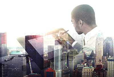 Buy stock photo Multiple exposure shot of a young businessman working in the office superimposed over a city