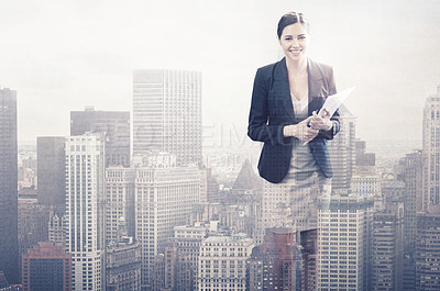Buy stock photo Multiple exposure shot of a smiling young businesswoman superimposed on a city