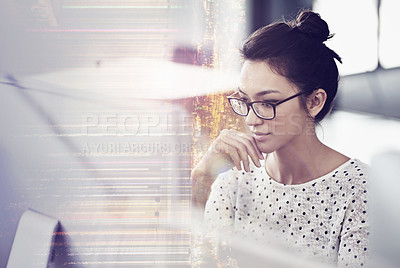 Buy stock photo Multiple exposure shot of a young woman using a computer at work superimposed over a city background
