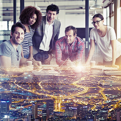 Buy stock photo Multiple exposure shot of a group of coworkers superimposed over a city background